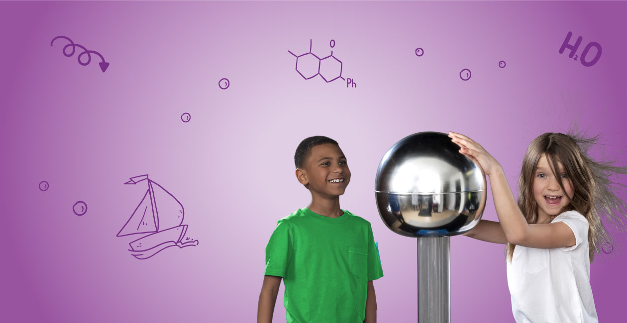 A boy looking at a girl touching an electro ball causing her hair to stand in the air